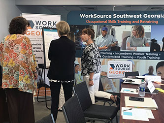 Healthcare providers and educators share information during a needs assessment forum that faculty member Greg Wilson facilitated as WorkSouce Southwest Georgia develops a regional partnership to better align job training with high-demand career opportunities.