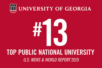 The University of Georgia jumped three spots to No. 13 in the U.S. News & World Report 2019 ranking of best public national universities, the highest ranking in UGA's history.