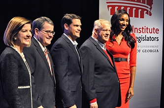 Institute of Government Director Laura Meadows, UGA President Jere W. Morehead, Lt. Gov.-elect Geoff Duncan and House Speaker David Ralston with keynote speaker Maria Taylor, a UGA grad and ESPN sports analyst.