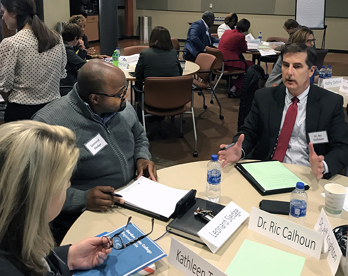 Educators, economic development professionals and other regional leaders explore what components to include in the Gordon State College Workforce Development Strategy at a steering committee meeting facilitated by Institute of Government faculty and staff.
