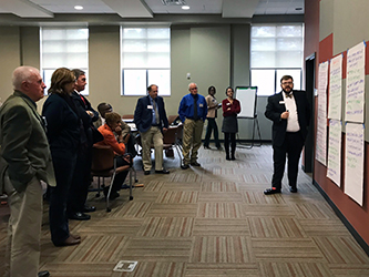 Gordon State College administrators, joined by community leaders representing a 14-county primary service region, review elements of the college's Workforce Development Strategy with Vinson Institute faculty and staff.