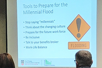 City and county managers from more than 120 Georgia communities explored the impact of millennials in local government at one of the training sessions the Institute coordinated at GCCMA's 2019 Fall Conference.