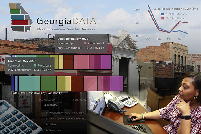 GeorgiaDATA.org offers information of use to community leaders, such as up-to-date sales tax distribution reports and visualizations. Illustration created by Shannah Montgomery
